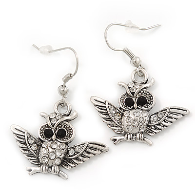 Burn Silver Crystal 'Owl' Drop Earrings - 4cm Length