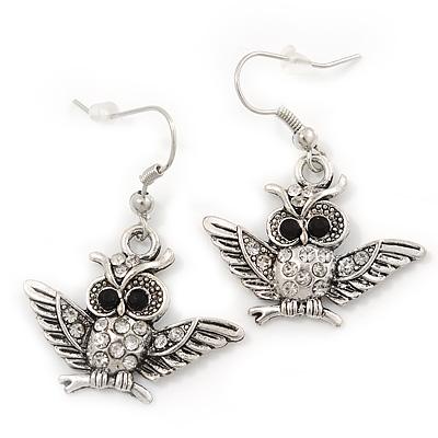 Burn Silver Crystal 'Owl' Drop Earrings - 4cm Length