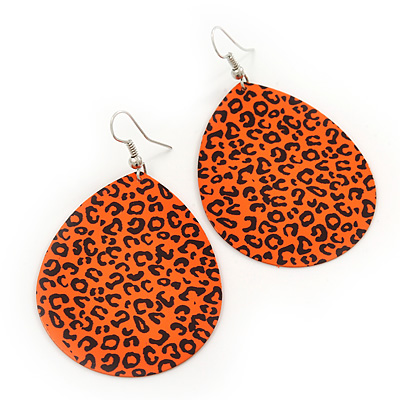 Long Orange 'Animal Print' Teardrop Metal Earrings - 6.5cm Length