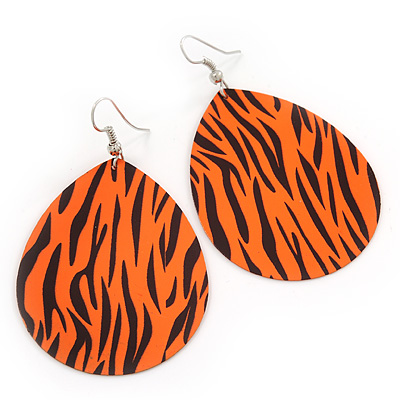Long Orange 'Zebra Print' Teardrop Metal Earrings - 6.5cm Length