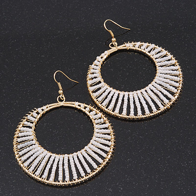 Long White Glass Bead Wire Hoop Earrings In Gold Plating - 8cm Length