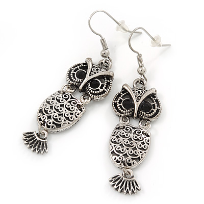 Burn Silver Filigree 'Owl' Drop Earrings - 5.5cm Length