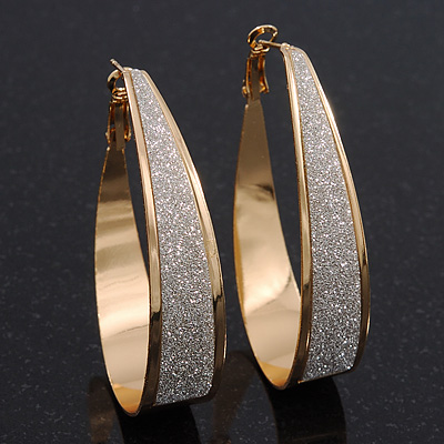 Gold Plated Textured Oval Hoop Earrings - 6cm Length