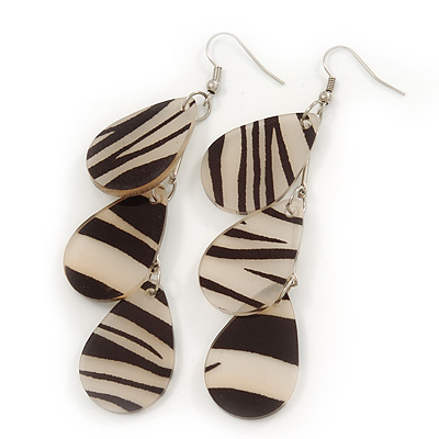 Black/Beige Resin 'Zebra Print' Teardrop Earrings In Silver Plating - 9cm Length