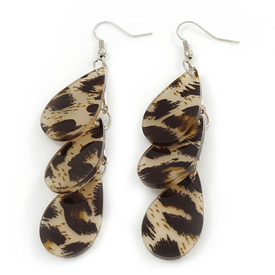 Beige/Black Resin 'Leopard Print' Teardrop Earrings In Silver Plating - 9cm Length