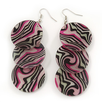 Long Stripy Acrylic Disk Drop Earrings In Silver Plating - 9cm Drop - main view