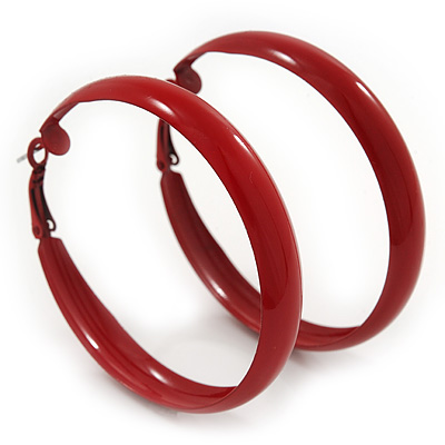 Medium Burgundy Red Enamel Hoop Earrings - 5.5cm Diameter - main view