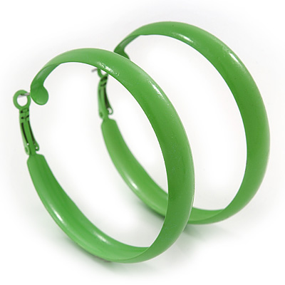 Medium Salad Green Enamel Hoop Earrings - 5.5cm Diameter