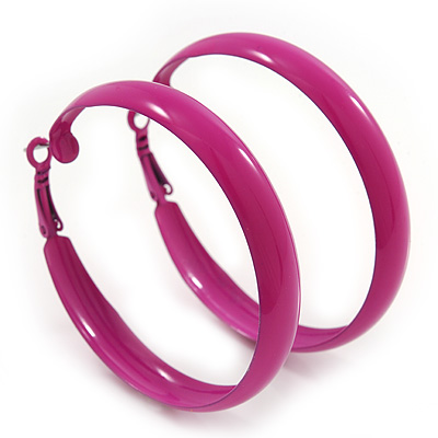 Medium Fuchsia Enamel Hoop Earrings - 5.5cm Diameter