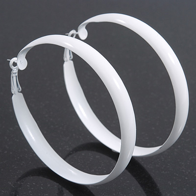 Large White Enamel Hoop Earrings - 70mm Diameter