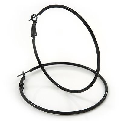 Slim Black Enamel Hoop Earrings - 6cm Diameter