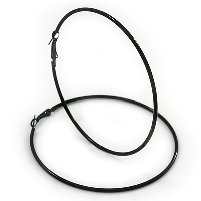 Oversized Slim Black Enamel Hoop Earrings - 8cm Diameter