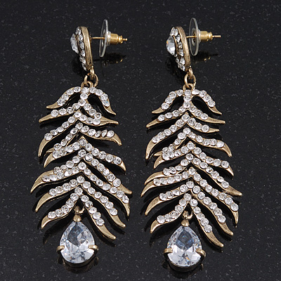 Long Ice Clear CZ 'Feather' Drop Earrings In Burn Gold Finish - 8cm Length