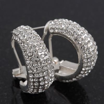 Clear Swarovski Crystal Creole Earrings In Rhodium Plated Metal - 2.5cm Length