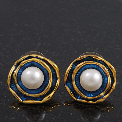 Vintage Burn Gold Blue Enamel Rose Stud Earrings - 17mm Diameter
