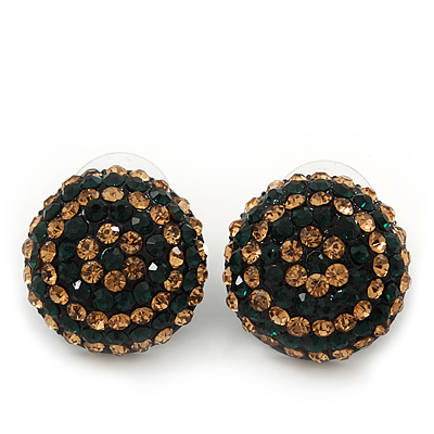 Dark Green/ Citrine Crystal Button Stud Earrings In Black Metal - 2cm Diameter