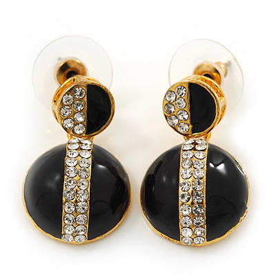 Black Enamel Diamante Dome Shape Drop Earrings In Gold Plating - 2.5cm Length