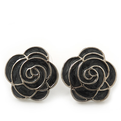 Dark Grey Enamel 'Rose' Stud Earrings In Rhodium Plating - 2cm Diameter - main view