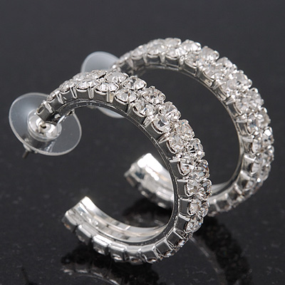 Clear Swarovski Crystal Creole Hoop Earrings In Rhodium Plated Metal - 3cm Diameter
