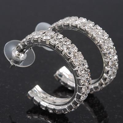 Clear Austrian Crystal Creole Hoop Earrings In Rhodium Plated Metal - 3cm D