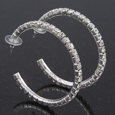 Classic Austrian Crystal Hoop Earrings In Rhodium Plating - 5.5cm D - main view