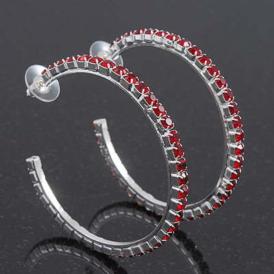 Large Burgundy Red Swarovski Crystal Hoop Earrings In Rhodium Plating - 6cm Diameter
