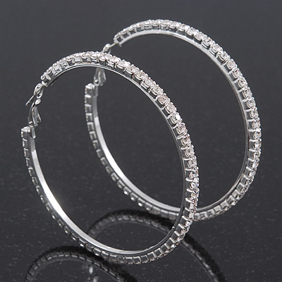Swarovski Crystal Hoop Earrings In Rhodium Plating - 6cm Diameter