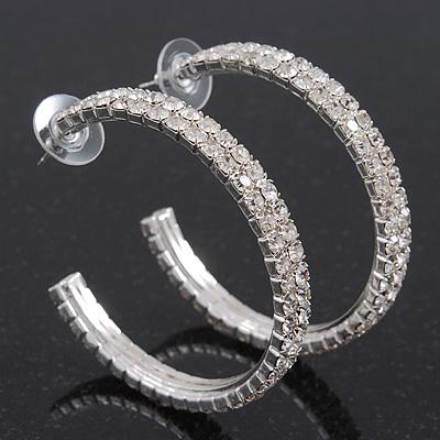 2-Row Clear Swarovski Crystal Hoop Earrings In Rhodium Plating - 5cm Diameter