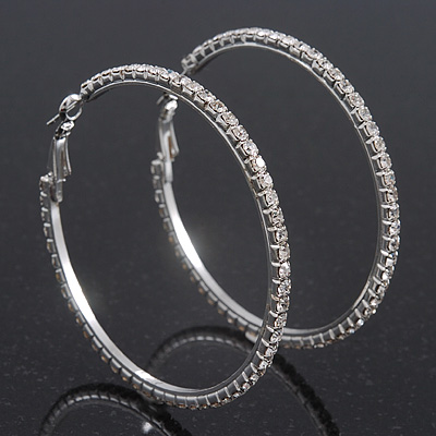 Large Swarovski Clear Hoop Earrings In Rhodium Plating - 6.5cm Diameter
