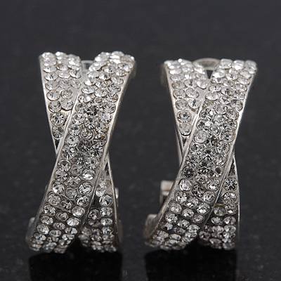 'X' Shape Swarovski Crystal Creole Earrings In Silver Plating - 23mm Length