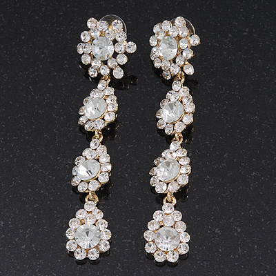 Long Bridal Swarovski Crystal Floral Drop Earrings - 8.5cm Length