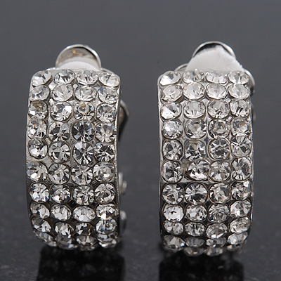 C-Shape Swarovski Crystal Clip-on Earrings In Rhodium Plating - 2cm Length
