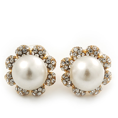 Classic Diamante Faux Pearl Flower Stud Earrings In Gold Plating - 18mm Diameter - main view