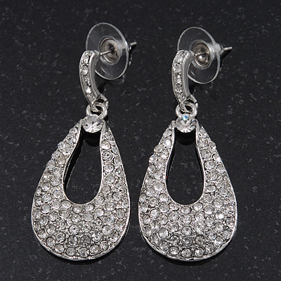 Bridal Swarovski Crystal Teardrop Earrings In Rhodium Plating - 4cm Length