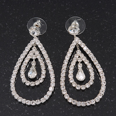 Bridal Clear Crystal Teardrop Earrings In Silver Plating - 5cm Length