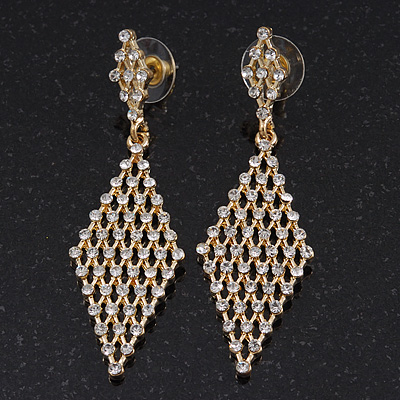 Clear Swarovski Crystal Diamond Shape Drop Earrings In Gold Plating - 6.5cm Length