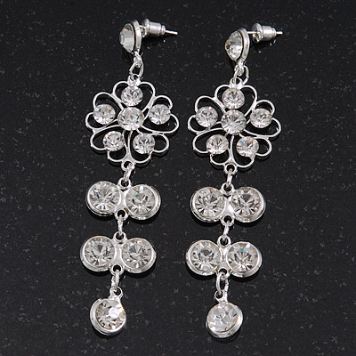 Clear Crystal Silvertone Flower Drop Earrings - 7.5cm Length - main view