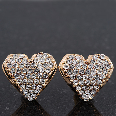 Gold Plated Swarovski Crystal 'Te Amo' Heart Stud Earrings - 1.5cm