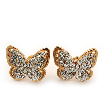 Gold Plated Swarovski Crystal &#039;Alegria&#039; Butterfly Stud Earrings - 1.5cm