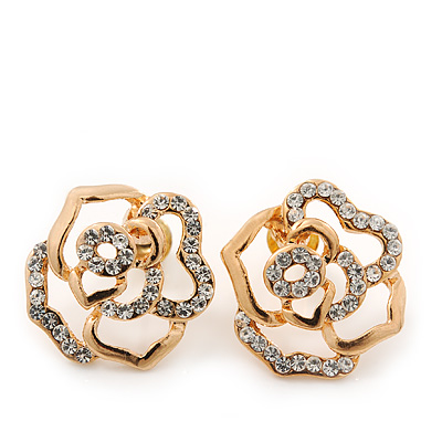 Gold Plated Swarovski Crystal 'Bella Rosa' Rose Stud Earrings - 1.5cm