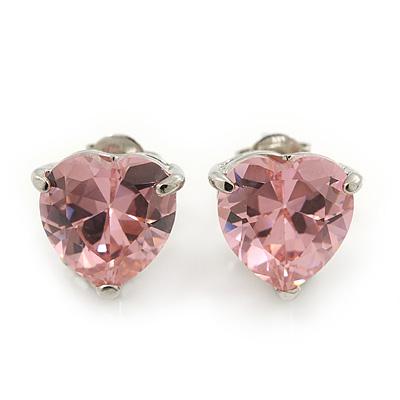 Classic Pink CZ 'Heart' Stud Earrings In Rhodium Plating - 11mm Diameter - main view