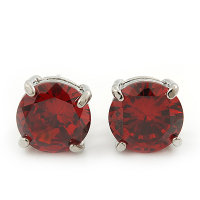 Ruby Red CZ Round Cut Stud Earrings In Rhodium Plating - 10mm Diameter