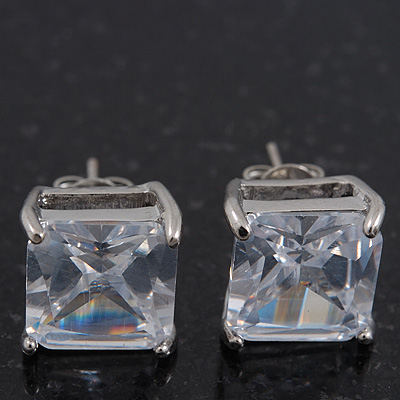 Princess-Cut Clear CZ Stud Earrings In Rhodium Plating - 10mm Diameter