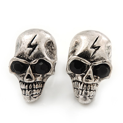Small Burn Silver 'Skull With Lighting' Stud Earrings - 14mm Length