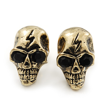 Small Burn Gold &#039;Skull With Lighting&#039; Stud Earrings - 14mm Length