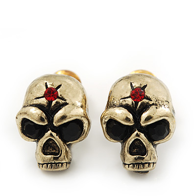 Small Skull With Red Stone Stud Earrings In Burn Gold Metal - 14mm Length