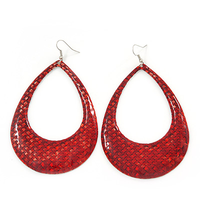 Woven Teardrop Statement Hoop Earrings (Red) - 10.5cm Length