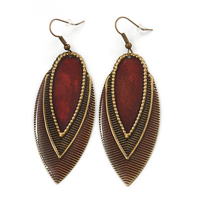 Vintage Dark Burgundy/Brown Enamel 'Leaf' Drop Earrings In Bronze Tone - 7cm Length