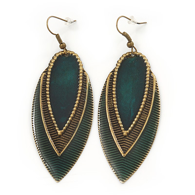 Vintage Dark Green/Brown Enamel 'Leaf' Drop Earrings In Bronze Tone - 7cm Length