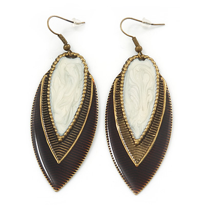 Vintage Milky White/Brown Enamel 'Leaf' Drop Earrings In Bronze Tone - 7cm Length